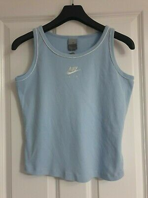 Nike Air Sky Baby Blue Cotton White Trim Logo Strappy Tank Vest Top - Xl 164-176
