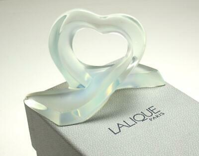 Lalique Coeur Rubans Heart Ribbon Opalescent Crystal Paperweight Figurine