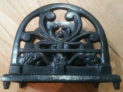 Napkin Holder HEAVY Cast IRON black Baked Enamel color