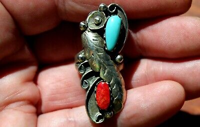 Large Old Navajo Handmade Sterling Silver & Turquoise Stone & Red Coral Ring