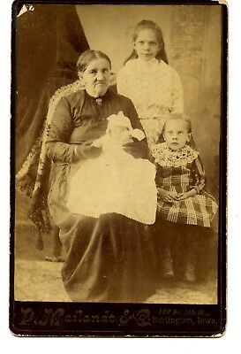 Grandmother-Little Girls-Baby-Burlington Iowa Vintage Studio Cabinet Photograph