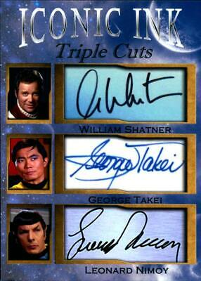 William Shatner Geoge Takei Leonard Nimoy Iconic Ink Triple fasc auto 1/1000
