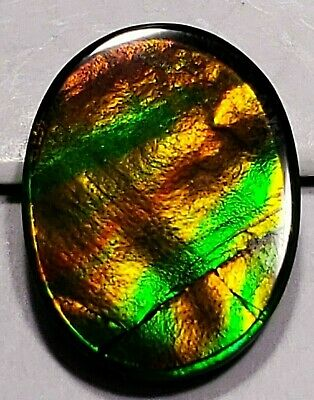 "Ammolite ""Canada's Opal"" Triplet Oval Ribbons Orange Green Gold Loose Gemstone"