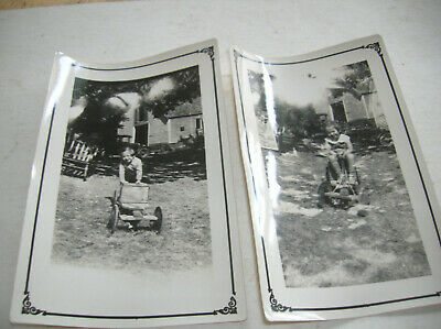2 Antique 1920S-30S Photos  Young Girl  With Antique Go Carts Or Wagons
