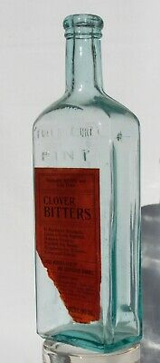 Clover Bitters Aqua Bottle With Embossing & Paper Label Augusta Maine