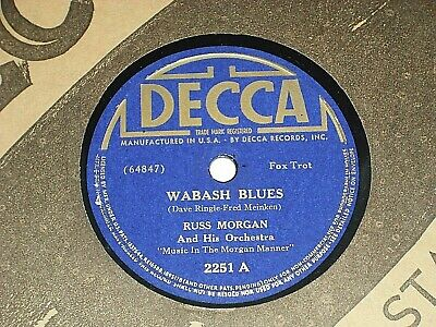 "RUSS MORGAN-Wabash Blues (1939) DECCA 10"" 78 RPM Shellac Single"