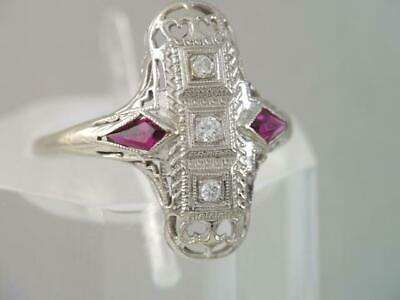 ANTIQUE Art Deco 14K SOLID WHITE GOLD FILIGREE DIAMOND & RUBY RING GORGEOUS LOOK
