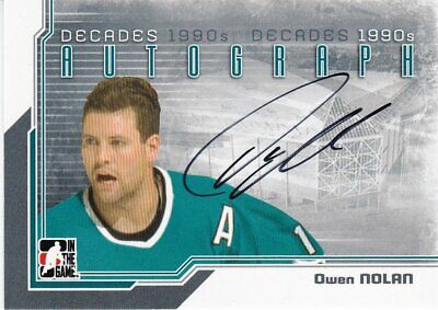 Owen Nolan 2013-14 ITG Decades 1990s Autograph card A-ON