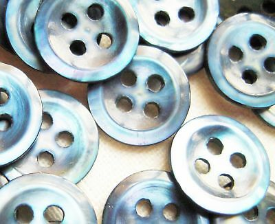 """Vintage Lot of 8 BLUE Mother of Pearl Shell Buttons 4 holes 7/16"""""""