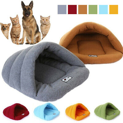 Pet Cat Dog Nest Bed Puppy Soft Warm Cave House Winter Sleeping Bag Mat Pad UK D