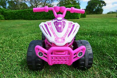 Chad Valley Baby 6V Powered Quad Ride On - Pink & White Star
