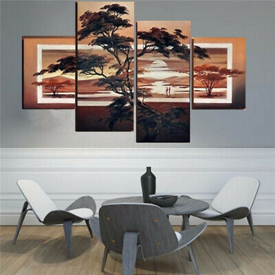 4X Large Modern Abstract Pine Sunset Art Oil Painting Wall Decor Canvas NO Frame