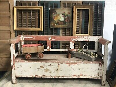 Vintage Hungarian Bench Original Paint With Storage Pub Country Farmhouse