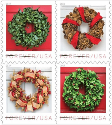 #5424 -5427a 2019 Holiday  Wreaths Booklet block/4 - MNH