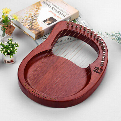 Walter.t 16-String Lyre Harp Strings Mahogany String with Tuning Wrench New R5I9