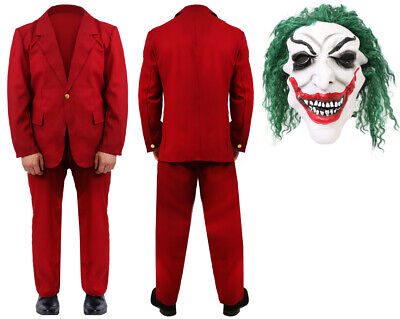 Burgundy Suit Halloween Costume Adults Clown Mask Movie Outfit 2019 Fancy Dress