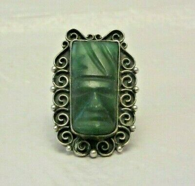 Vintage 1940s Carved Aztec God Face Mask Jade Sterling Silver Mexico Ring Size 7