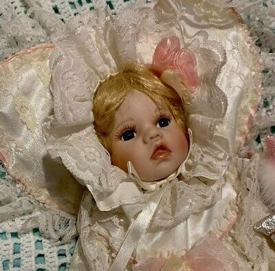 Vintage Baby Porcelain Doll In Satin And Lace Dress Plus Bonus