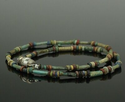 Ancient Egyptian New Kingdom Faience Bead Necklace - 1700Bc   (201)
