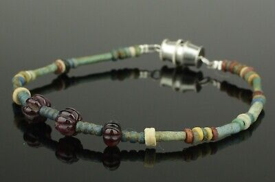 Ancient Egyptian New Kingdom Faience Bead & Ruby Bracelet - 1700Bc   (221)