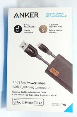 Anker - Apple MFi Certified PowerLine+ 6' Lightning-to-USB Type A Cable - Gray