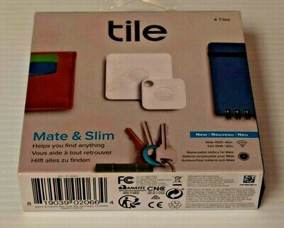 (MA6) Tile RT-16004 Mate and Slim Combo Item Tracker - White/Gray - Pack of 4