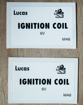 Lucas Ignition Coil 6v Black and White Decal Decals Peel and Stick Lion