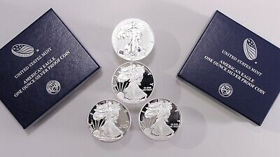 4 American Silver Eagle Proof Coins: 2017s, 2018s, 2019s & 2019w REVERSE PROOF