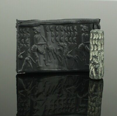 Ancient Near Eastern Hard Stone Cylinder Seal - Circa - 1200 - 950 Bc   (098)