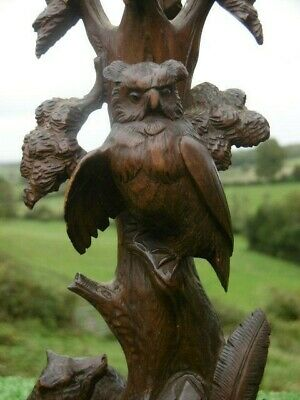 STUNNING Pr 19thc BLACK FOREST OAK CARVED EPERGNES WITH OWL & FOX BY TREE