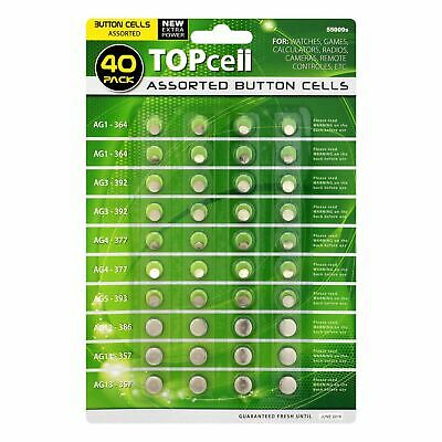 New 40 Assorted Button Cell Watch Battery Batteries Ag 1 / 3 / 4 / 5 / 12 / 13