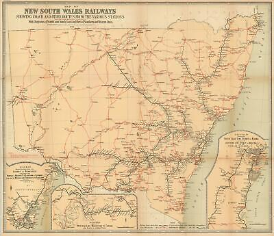 1895 Department of Lands Map of Railways in New South Wales, Australia