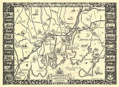 1939 Selchow Pictorial Map of Greenwich, Connecticut