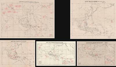 1943 Japanese Pacific Situation maps - World War II (5 maps)