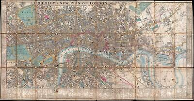 1849 Cruchley Pocket Map of London, England