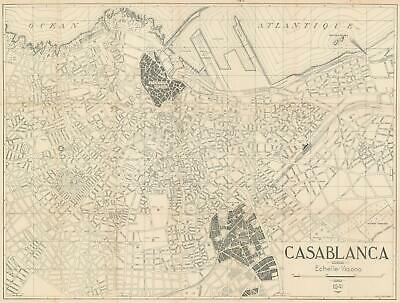 1941 Maroc Presse City Map or Plan of Casablanca, Morocco
