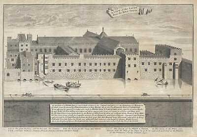 1750 Vertue Print of Savoy Hospital, London