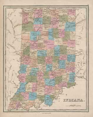1846 Bradford Map of Indiana