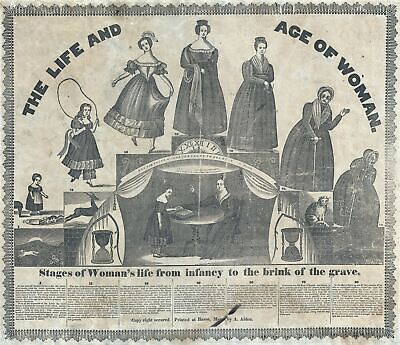 1835 Albert Alden Allegorical Broadside 'Life and Age of Woman'