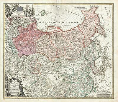 1739 Hase and Homann Heirs Map of Russia and Asia