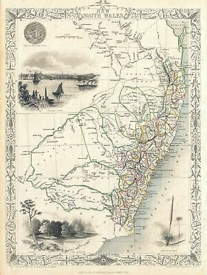 1851 Tallis and Rapkin Map of New South Wales, Australia
