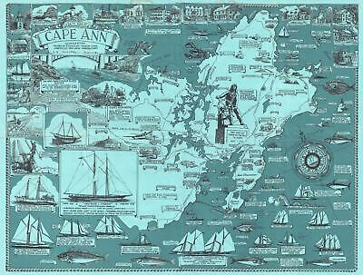 1947 O'Toole Pictorial Map of Cape Ann, Massachusetts