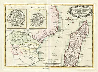 1770 Bonne Map of Mozambique, Madagascar, R√ union, and Mauritius