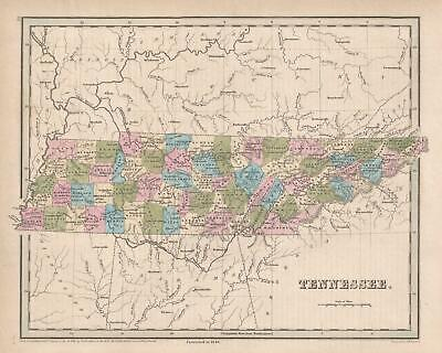 1846 Bradford Map of Tennessee