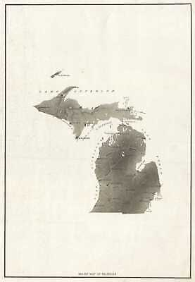 1890 Relief Map of Michigan