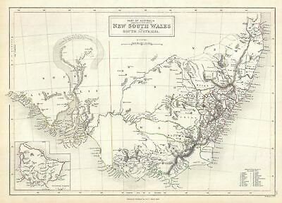 1844 Black Map of New South Wales, Australia