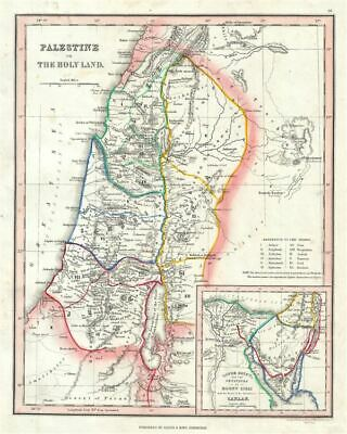 1845 Ewing Map Of Palestine, Israel o las Holy Land