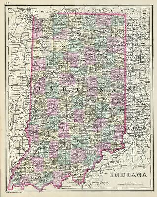 1887 Bradley Map Of Indiana