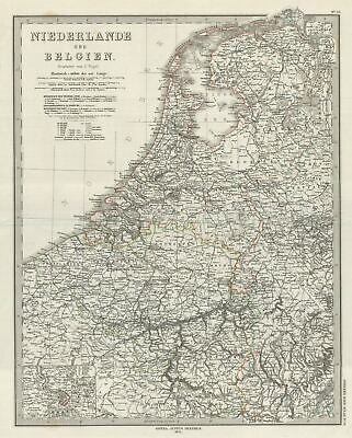 1873 Stieler Map of the Holland and Belgium