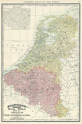 1892 Rand McNally Map of Belgium and the Netherlands